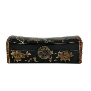 1910s Chinese Leather Money Box Pillow For Sale