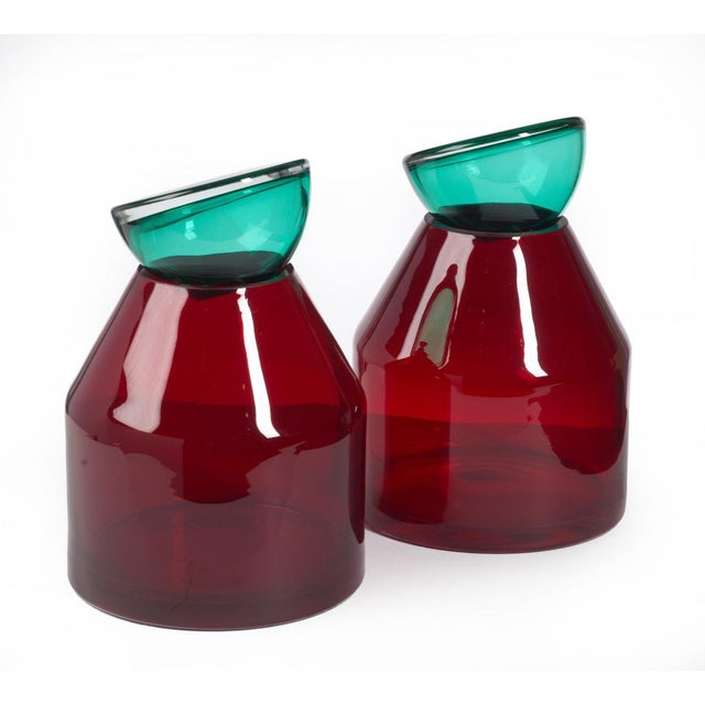 Italian Red & Aqua Glass Lidded Vases - a Pair For Sale In New York - Image 6 of 7
