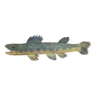 Folk Art Handmade Green and Gold Wood and Metal Fish Sculpture For Sale