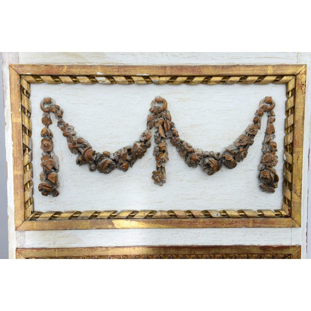 Gold Narrow 19c. Painted and Parcel Gilt French Trumeau Mirror For Sale - Image 8 of 11