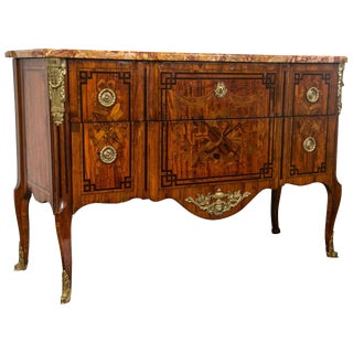 19th Century French Marquetry Marble Top Commode W/ Stunning Musical Inlays For Sale