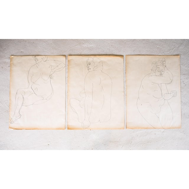Original Large Scale Mid-Century Triptych of Nudes - Set of 3 - Image 2 of 9