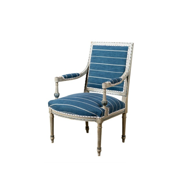 Wood Antique Neoclassical Blue Reupholstered Armchair For Sale - Image 7 of 7