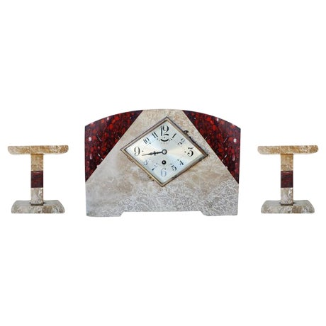 Italian Marble Art Deco Mantel Clock Set With Matching Garniture - Set of 3 - 5oth Anniversary Sale For Sale