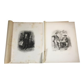 1892 Antique Characters From Charles Dickens Stories Photogravure Prints - A Pair For Sale