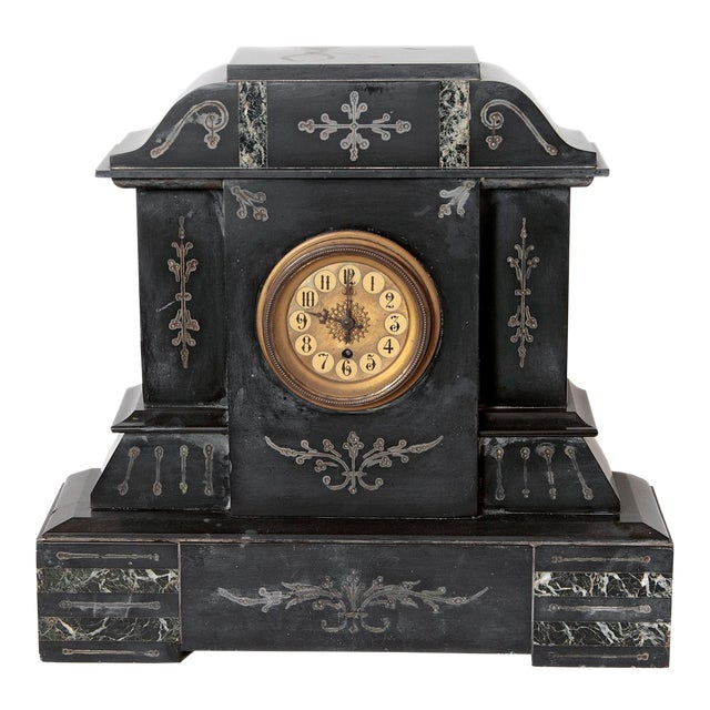 19th Century Victorian French Marble Mantel Clock For Sale