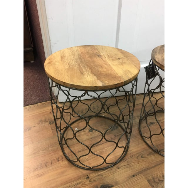 2010s Iron Arabesco Side Table with Mango Wood Top For Sale - Image 5 of 12