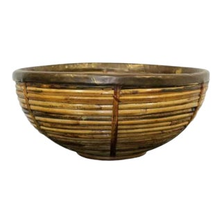 Mid Century Modern Gabriella Crespi Style Raymor Brass Rattan Art Bowl 1960s For Sale
