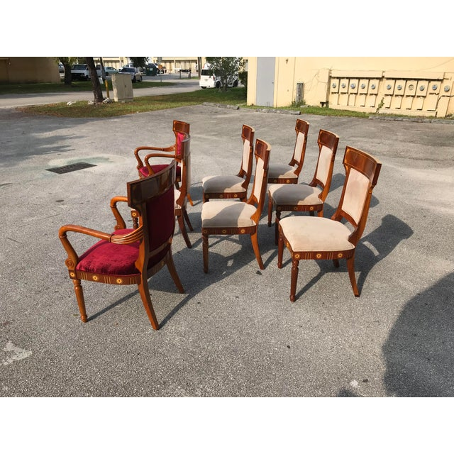 Art Deco 1910s Vintage Biedermeier Style Flame Mahogany Dining Chairs- Set of 8 For Sale - Image 3 of 13
