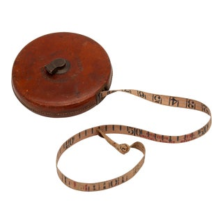 1930s Leather Wrapped Measuring Tape For Sale