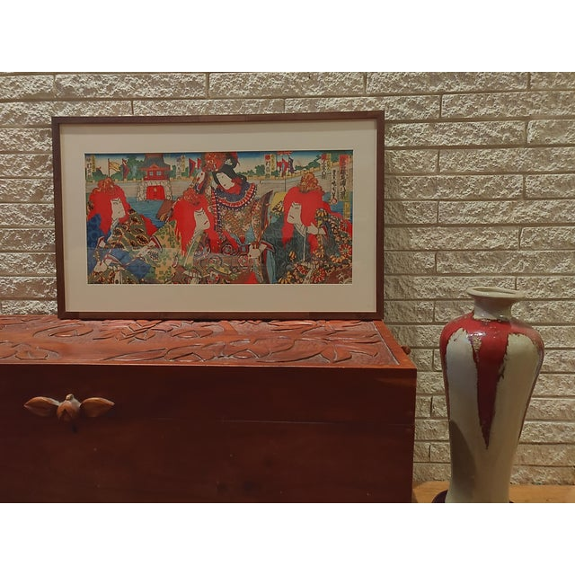 Late 19th Century Antique Meiji Period Kunichika Japanese Triptych Woodblock Print For Sale - Image 4 of 7