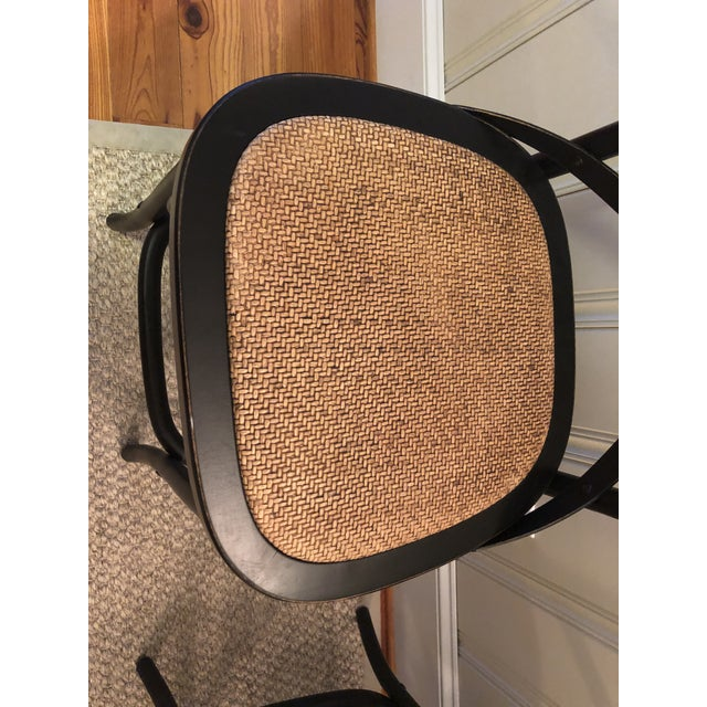 Traditional Furniture Classics Black and Rattan Bentwood Counter Stools - Set of 4 For Sale - Image 3 of 4