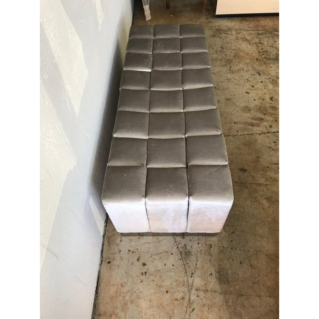 Gray Harvey Probber Style Biscuit Tufted Grey Velvet and Steel Bench or Ottoman For Sale - Image 8 of 13