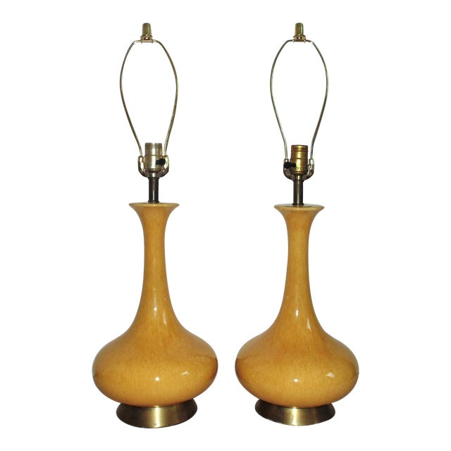 Mid-Century Moderns Mustard Yellow Glaze Table Lamps - a Pair For Sale