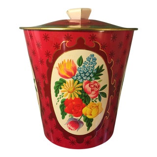 English Red & Gold Lidded Tin Box For Sale