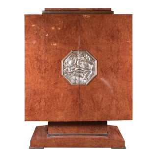 Art Deco Style Cabinet in Burled Walnut, White Gold Plaque, Manner of Ruhlmann For Sale