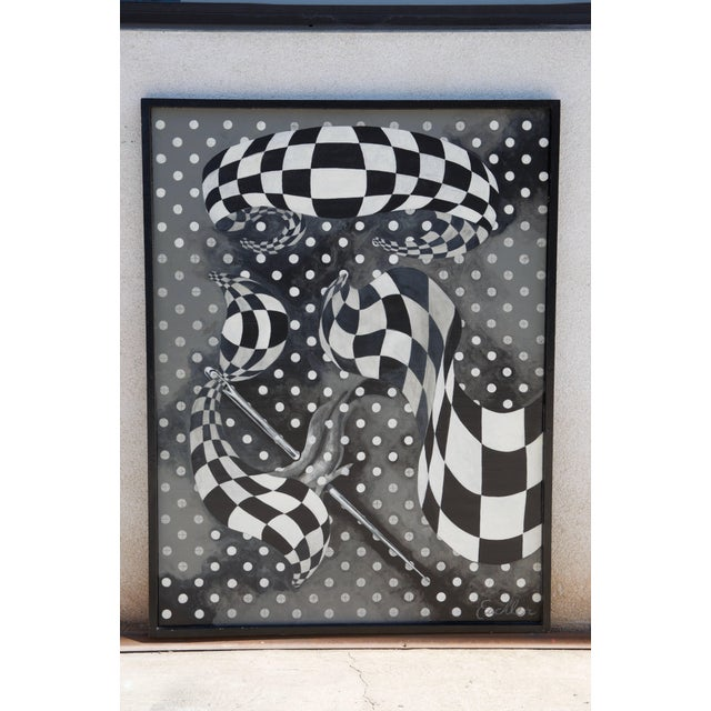 2000 - 2009 Large Black and White Abstract Painting by Euchler For Sale - Image 5 of 5