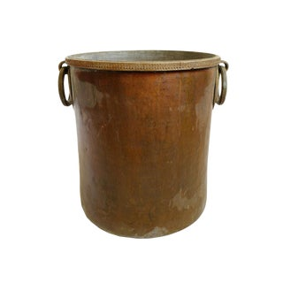 Antique Brass & Copper Hammered Pot For Sale