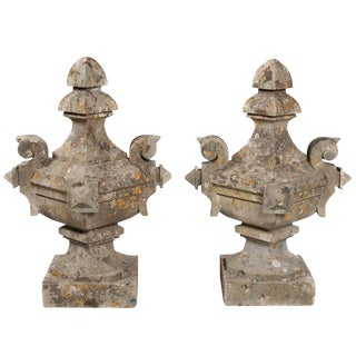 French Limestone Gate Finials - A Pair For Sale