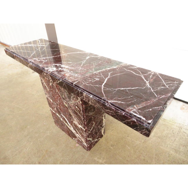 Hollywood Regency 20th Century Hollywood Regency Variegated Marble Pedestal Console or Entryway Table For Sale - Image 3 of 13