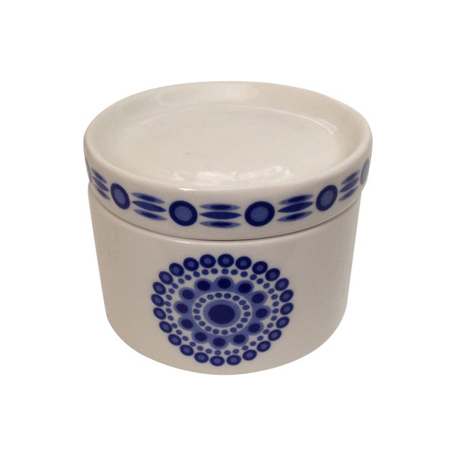 Mid-Century Blue & White Sugar Bowl - Image 1 of 7