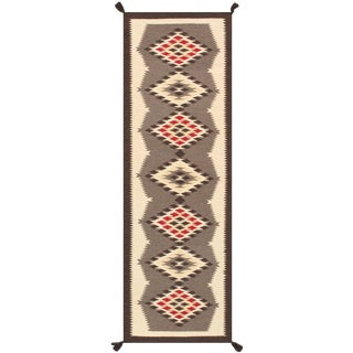 Contemporary Navajo Style Wool Runner Rug - 2′7″ × 7′11″ For Sale