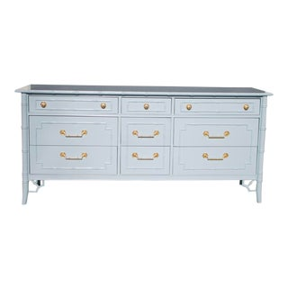 Vintage Thomasville Lacquered French Blue Faux Bamboo Chinoiserie Dresser For Sale