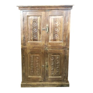 1920s Antique Armoire Artistic Carved Cabinet For Sale