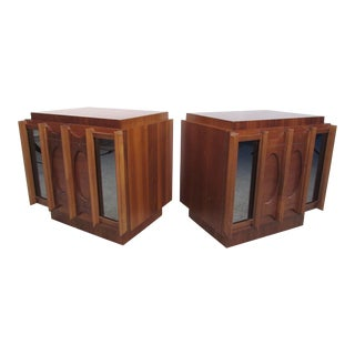 Pair of Vintage Modern Brasilia Style Nightstands With Mirrored Fronts For Sale