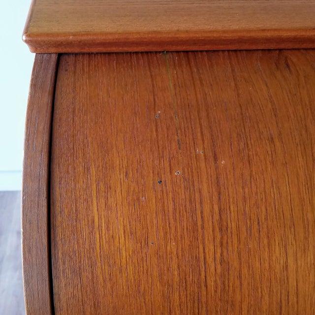 Brown 1960s Egon Ostergaard Teak Roll-Top Writing Desk For Sale - Image 8 of 13