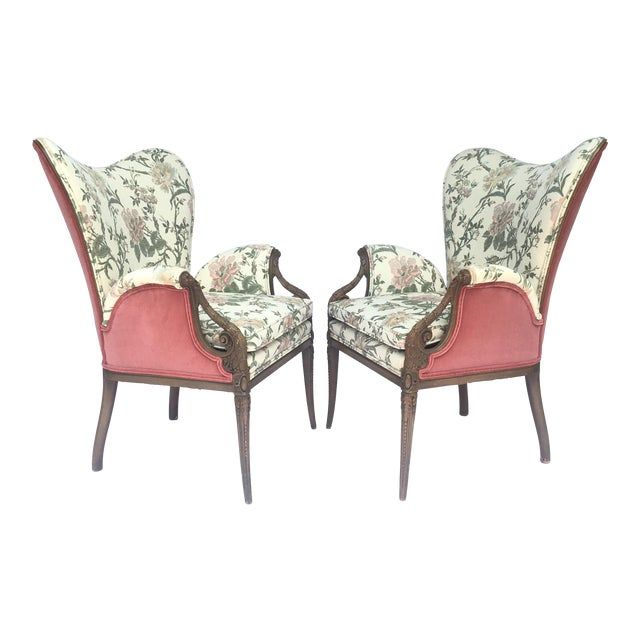 Carved French Hollywood Regency Style Butterfly Wing Chairs For Sale