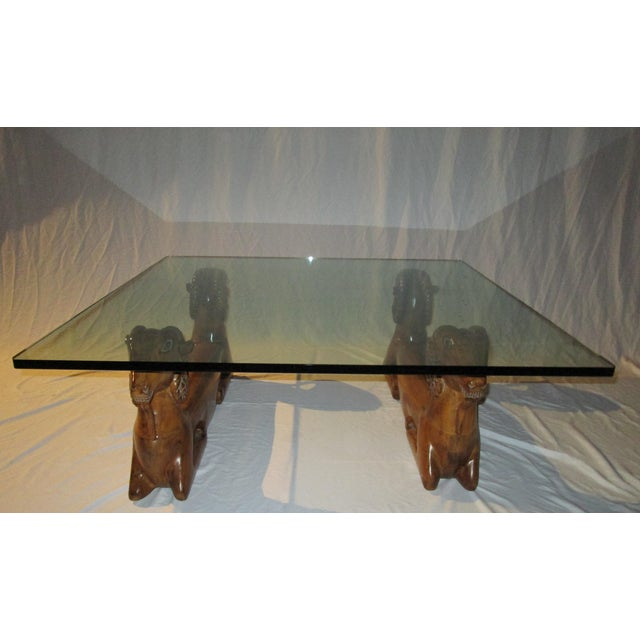 20th Century Recumbent Goat Glass Top Coffee Cocktail Table For Sale - Image 10 of 10