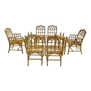 Classic Chinese Chippendale Rattan Dining Room Table Base with 6 Pagoda Top Dining Chairs For Sale