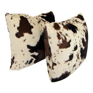 Faux Fur Cowhide Pillows - A Pair For Sale
