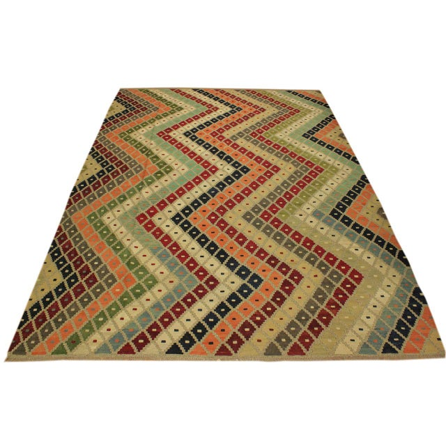 Shabby Chic Tribal Ezra Gray/Blue Hand-Woven Kilim Wool Rug -9'4 X 12'1 For Sale In New York - Image 6 of 8