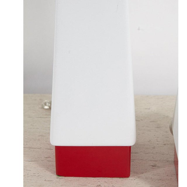 Red and White Mid-Century Lamps - A Pair For Sale - Image 4 of 8
