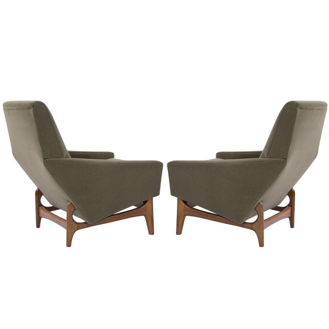 Scandinavian Modern Olive Velvet on Sculptural Teak Base Lounge Chairs - a Pair For Sale - Image 10 of 11