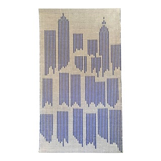 "Swedish ""Cityscape"" Textile by I. Damast For Sale"