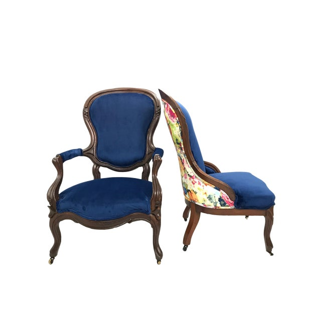 Antique Victorian Blue Velvet with Floral Back Ladies and Gentleman Chairs  - a Pair For Sale - Antique Victorian Blue Velvet With Floral Back Ladies And Gentleman
