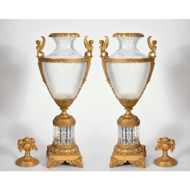 Mid-19th Century Large Bronze Cut Glass Urns - a Pair For Sale - Image 4 of 13