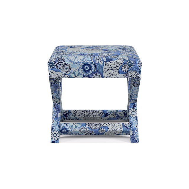 Contemporary X Bench In Porcelain Siberian Tiger By Old World Weavers For Sale - Image 3 of 7