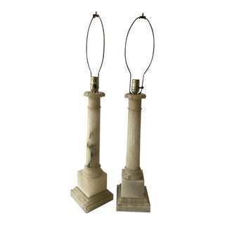 Pair of 1950s Italian Alabaster Column Lamps For Sale