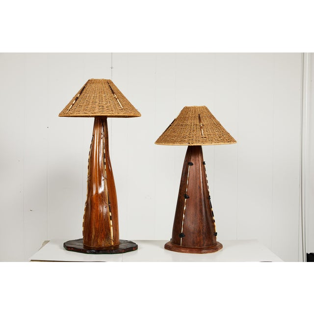 Boho Chic Interesting Pair of Midcentury Palm Frond Lamps For Sale - Image 3 of 13