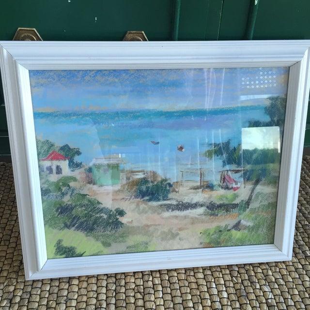 Mid 20th Century Original Oil Pastel Caribbean Coastal Seascape Framed Art For Sale - Image 5 of 11