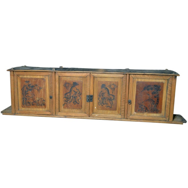 19th Century Chinese Four-Door Low Wooden Cabinet With Hand-Painted Scenes For Sale - Image 9 of 9