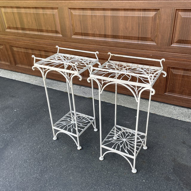 White Mid 20th Century Metal Plant Stands or Tables - a Pair For Sale - Image 8 of 8