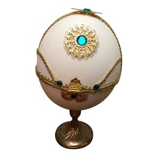 Ornate Ostrich Egg Double-Hinged Jewelry Box For Sale