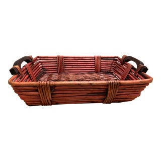 Rustic Wood Basket Serving Decor Tray For Sale