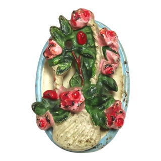 Vintage Rose Flowers in Hanging Basket Cast Iron Door Knocker For Sale