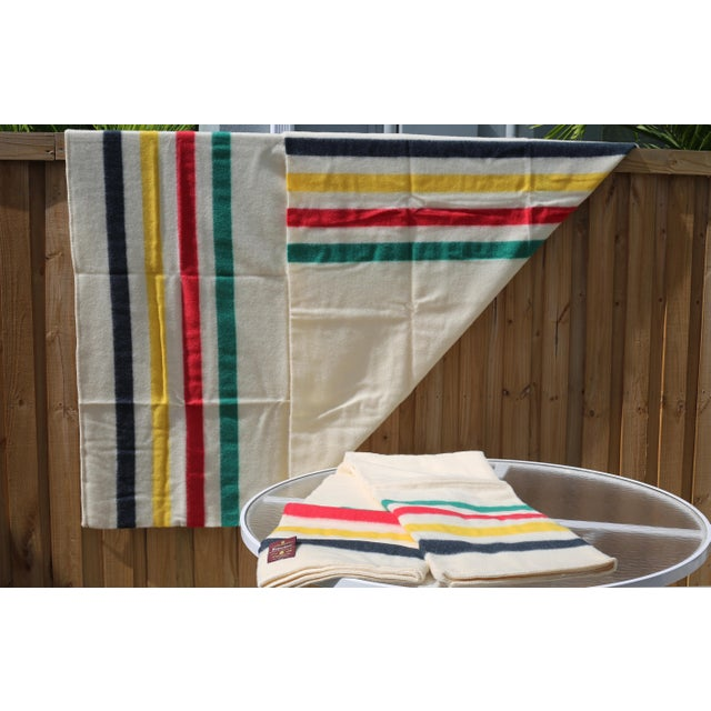 English Vintage New Old Stock Early's of Witney Four Point Color Stripe Wool Blankets - a Pair For Sale - Image 3 of 10